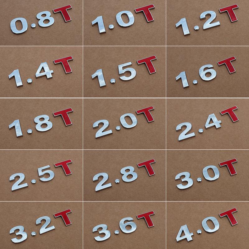 实心连体排量标金属汽车改装数字尾标 V6 4WD车标贴1.5T1.8L 2.0T