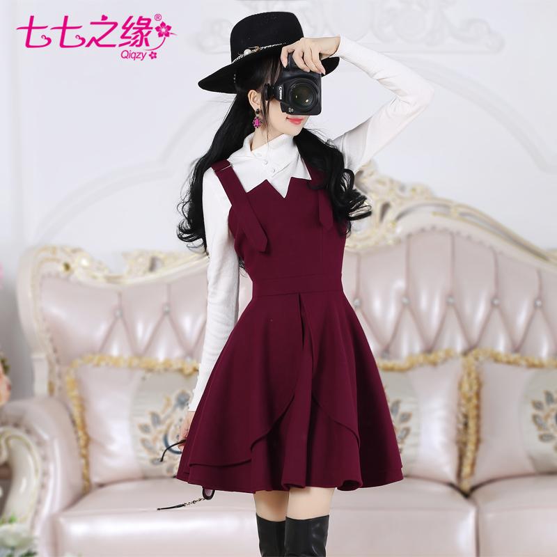 七七之缘秋冬新款女装韩版 紫红色花瓣修身毛呢背带裙连衣裙