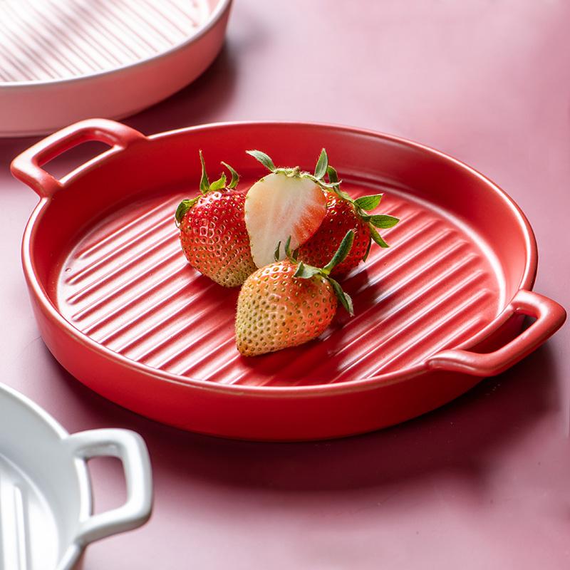 北欧圆形双耳烤箱盘陶瓷盘子 家用早餐平盘微波炉烘焙烤盘西餐盘