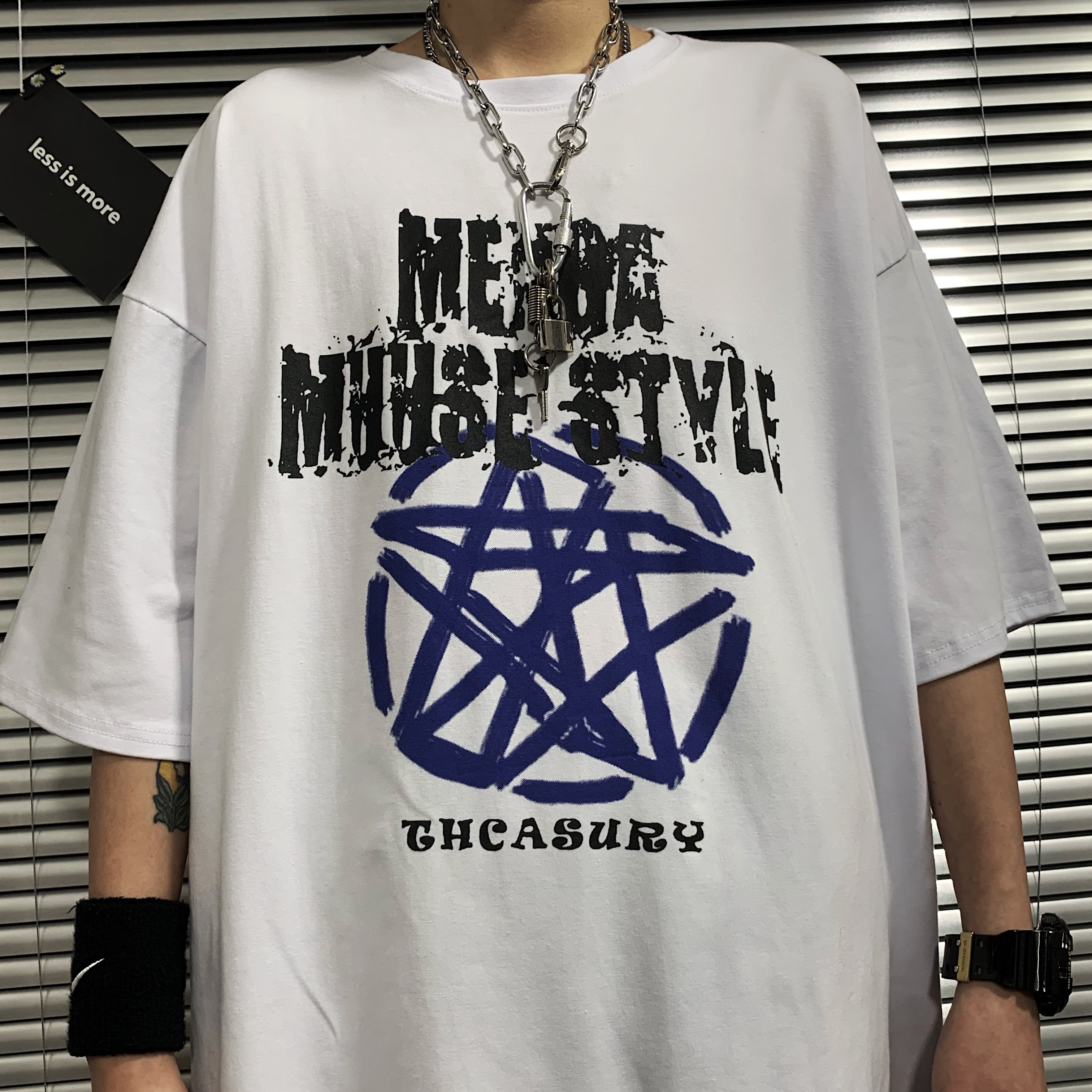 INSstudios 夏季潮流ins暗黑五角星涂鸦做旧字母个性短袖T恤男女