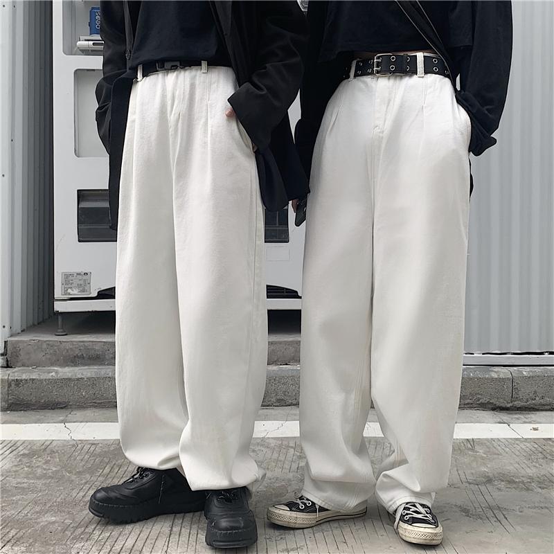 INSstudios 2020潮流ins日系复古水洗白色牛仔裤休闲直筒长裤男女