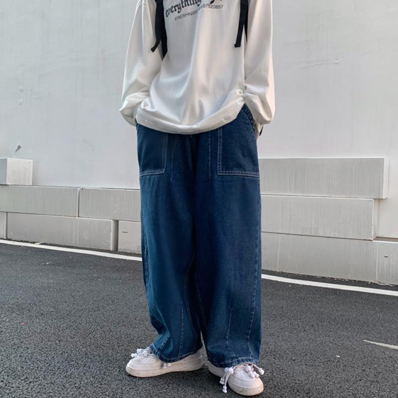 INSstudios 2020潮流ins日系复古宽松廓形牛仔裤直筒阔腿长裤男女