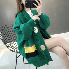 New spring and autumn pocket pure sweater jacket, women's cardigan, 100 sets of thick Korean version loose knitted sweater