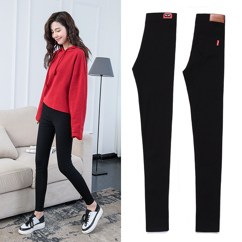 Black leggings pants outer wear thin section 2017 summer new large size feet nine points pencil pants tight autumn
