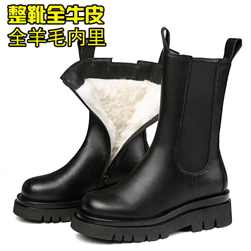 Medium boots thick soled Chelsea Martin boots womens cotton shoes winter flat bottom leather Wool Womens boots short boots womens cotton boots