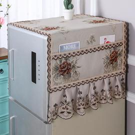 冰箱盖布单双开门冰柜防尘罩子帘滚筒式洗衣机盖巾对开门布艺蕾丝图片