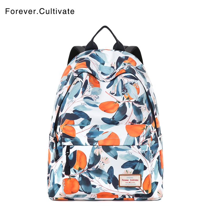Forever cultivate初中女生书包韩版校园大容量印花旅行双肩背包