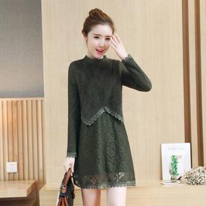 实拍8862#秋冬新款韩版修身蕾丝连衣裙假两件加绒加厚包臀打底裙