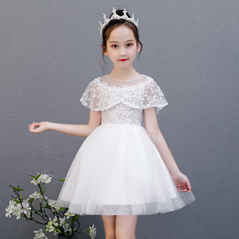 12-07新券童装女童夏装连衣裙2019新款超洋气白色儿童裙子小女孩夏天公主裙
