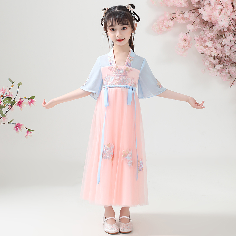 Children's Hanfu girl's summer clothes Chinese style children's clothes Tang clothes super FAIRY DRESS 12-year-old girl's cherry blossom Princess ancient clothes