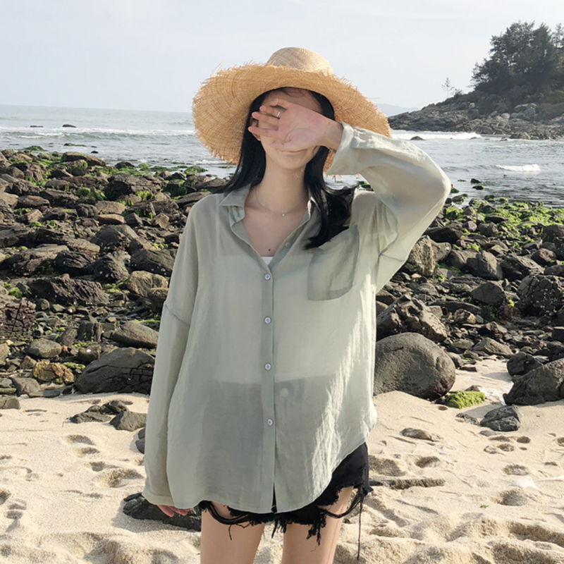 海边度假宽松显瘦薄款防晒衬衫女夏2018新款休闲衬衣沙滩开衫外套