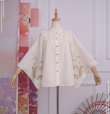 [in stock] ichigomikous house Lolita night cherry water lamp embroidered shirt, printed feather fabric