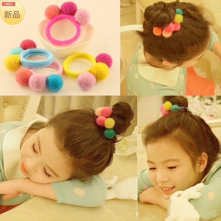 儿童发饰品韩国毛毡球可爱发圈头花女童宝宝头饰橡皮筋小女孩头绳
