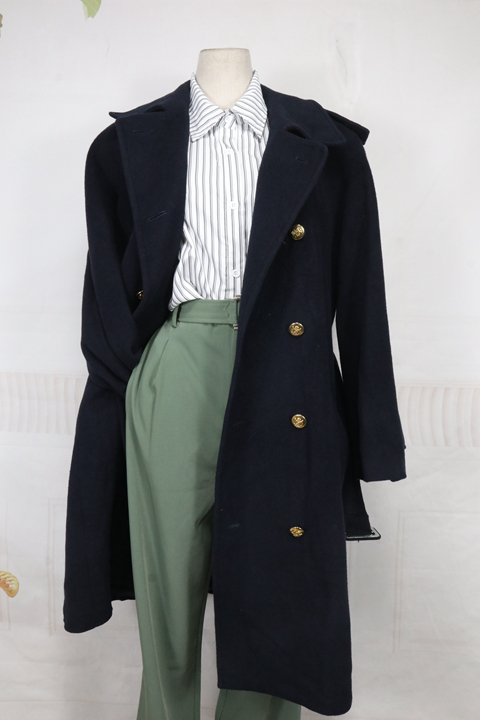 Japanese womens winter slim fitting cashmere blended medium and long casual coat