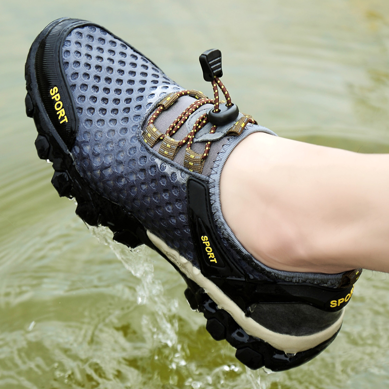 Huili large mens shoes summer mesh sports casual shoes outdoor mountaineering shoes breathable father leather travel shoes 48