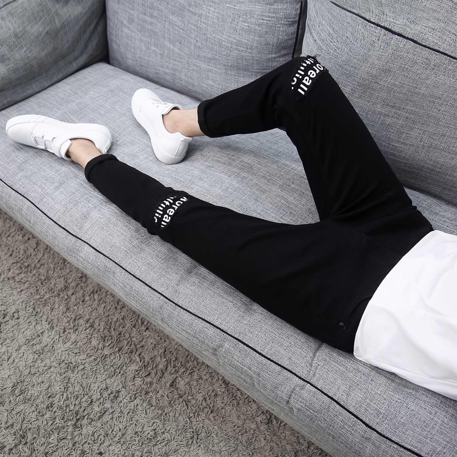 夏季破洞黑色9九分牛仔裤男士韩版修身青少年小脚裤潮流男装裤子