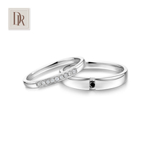 Dr. Darryring Diamond couple to quit white 18K gold black and white drill wedding ring 10% Mr.