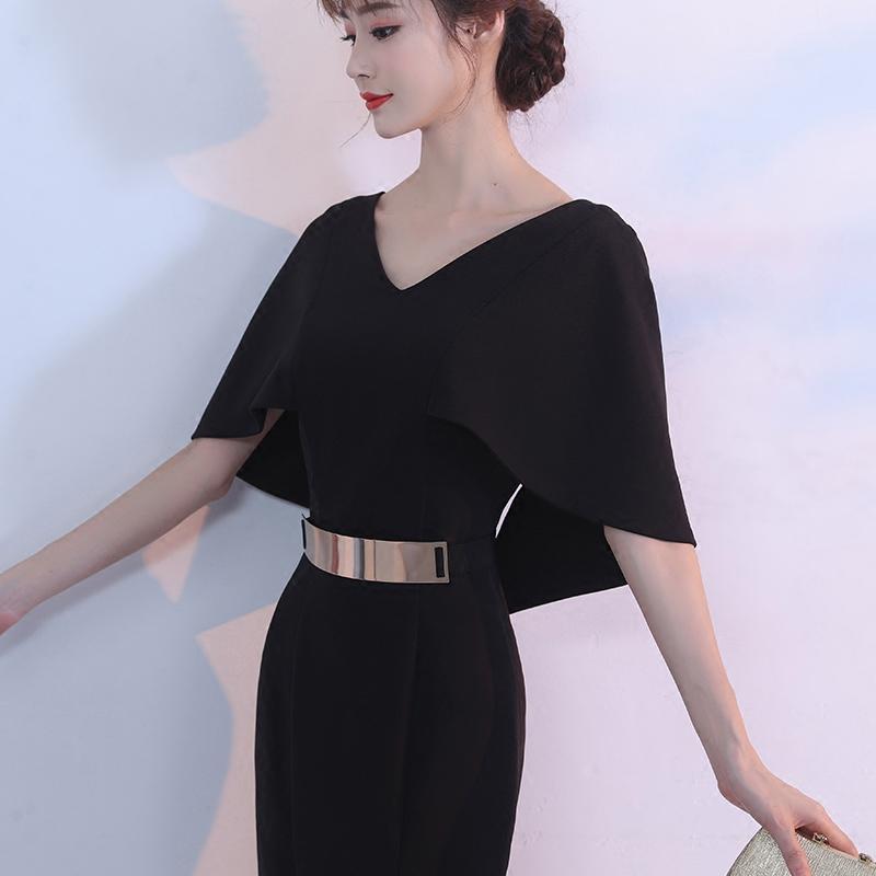 黑色晚礼服女2018新款夏宴会短款高贵优雅修身显瘦聚会派对小礼服