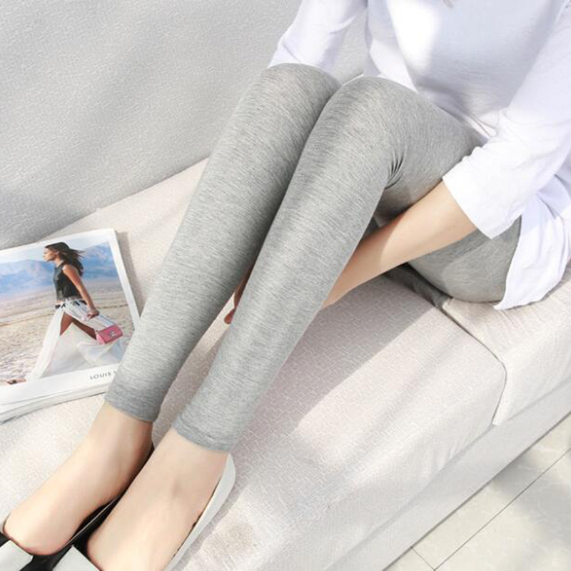 Ice Plaid Leggings for womens thin outerwear summer oversized tight legged pants stretch modal Capris