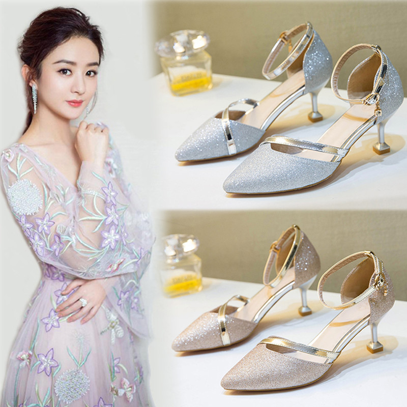 Small size sandals womens summer 31 thin heels 32 middle heels 33 single shoes 34 size shoes womens 313233 womens shoes slotted high heels