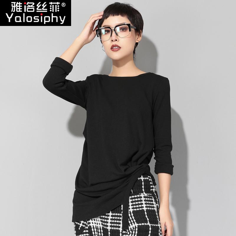 欧洲站春秋新款暗黑风长袖T恤女装时尚不规则九分袖打底衫上衣潮图片