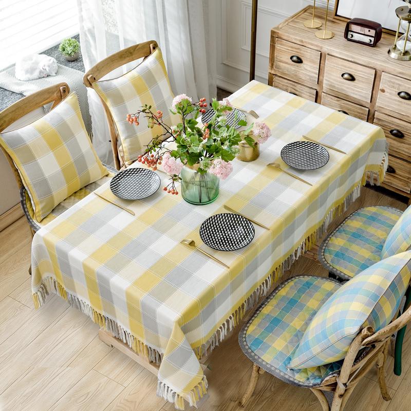 棉麻格子餐桌布茶几布防水桌布布艺防污防烫圆桌布长方形桌布简约