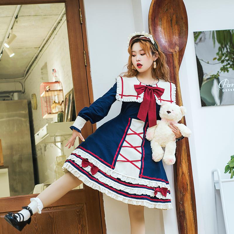 原创正版大码lolita白雪姬op古典日常洋装裙秋冬胖mm洛丽塔连衣裙