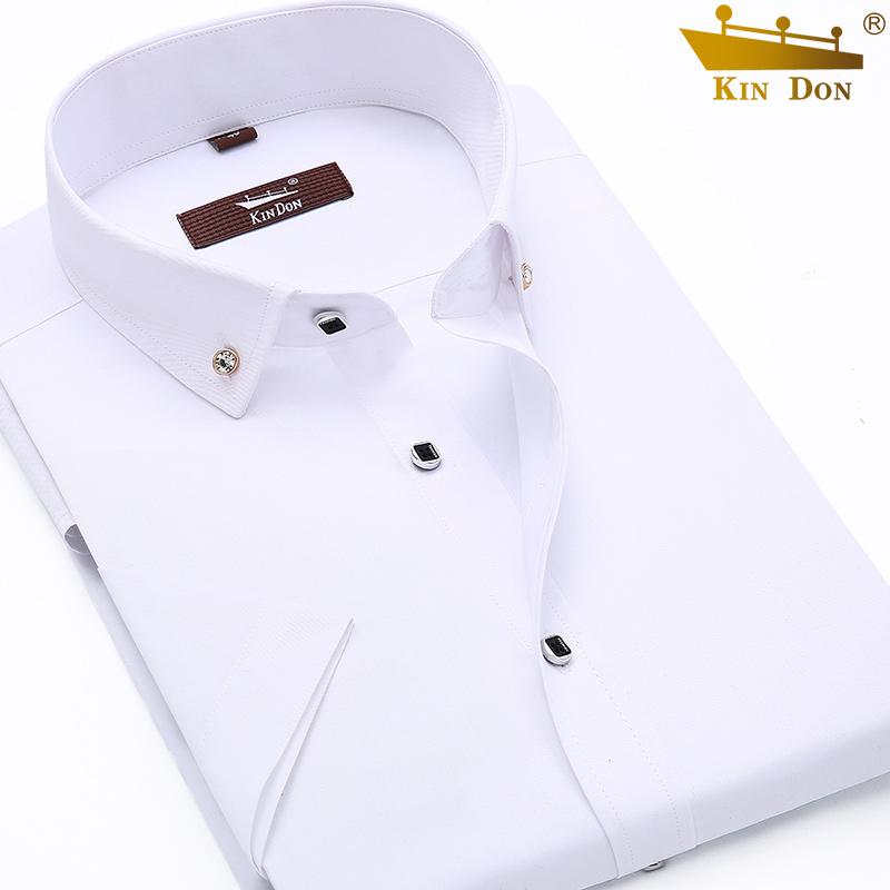 金盾春秋男士长袖白衬衫纯色正装修身商务休闲半短袖衬衣韩版寸衣