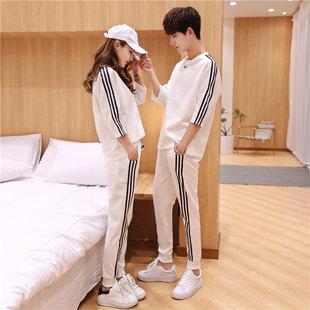 情侶裝夏季韓版寬鬆運動套裝男短袖T恤潮流修身衣服一套夏裝班服