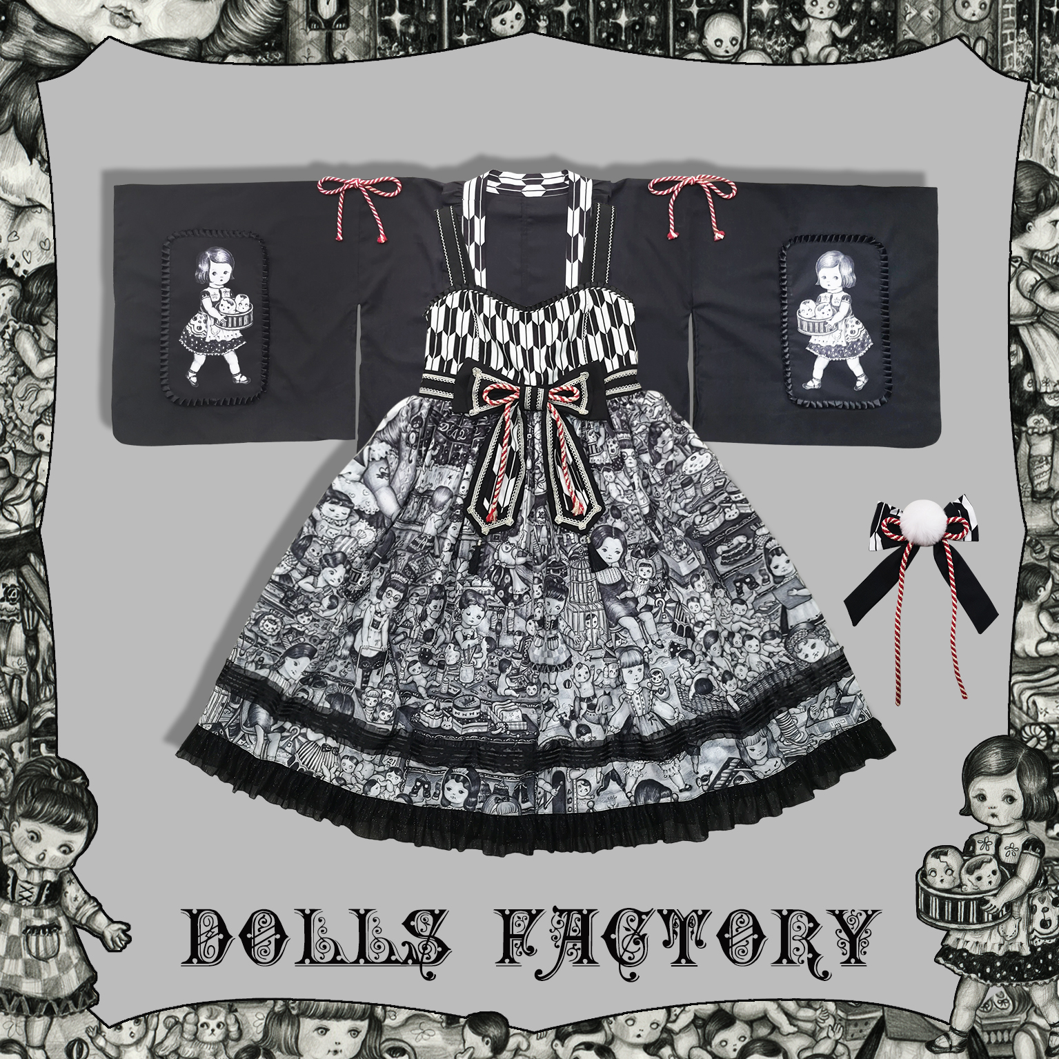 [second group stock] dolls party original Lolita black sweet long sleeve OP cardigan jsk