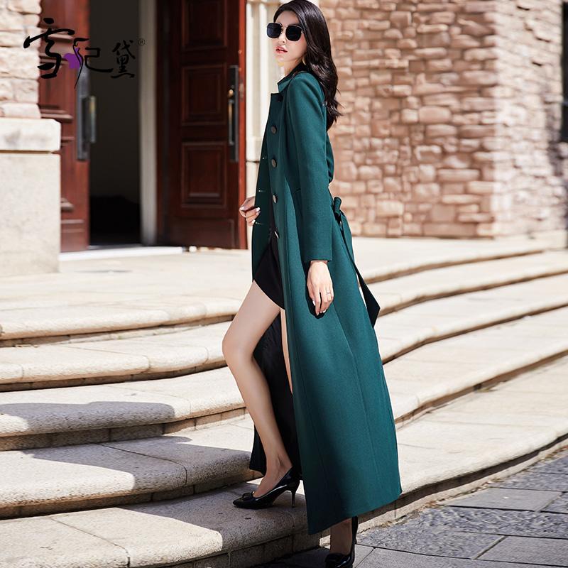 春秋风衣女长款过膝2021年春季新款流行时尚气质超长高端大衣外套