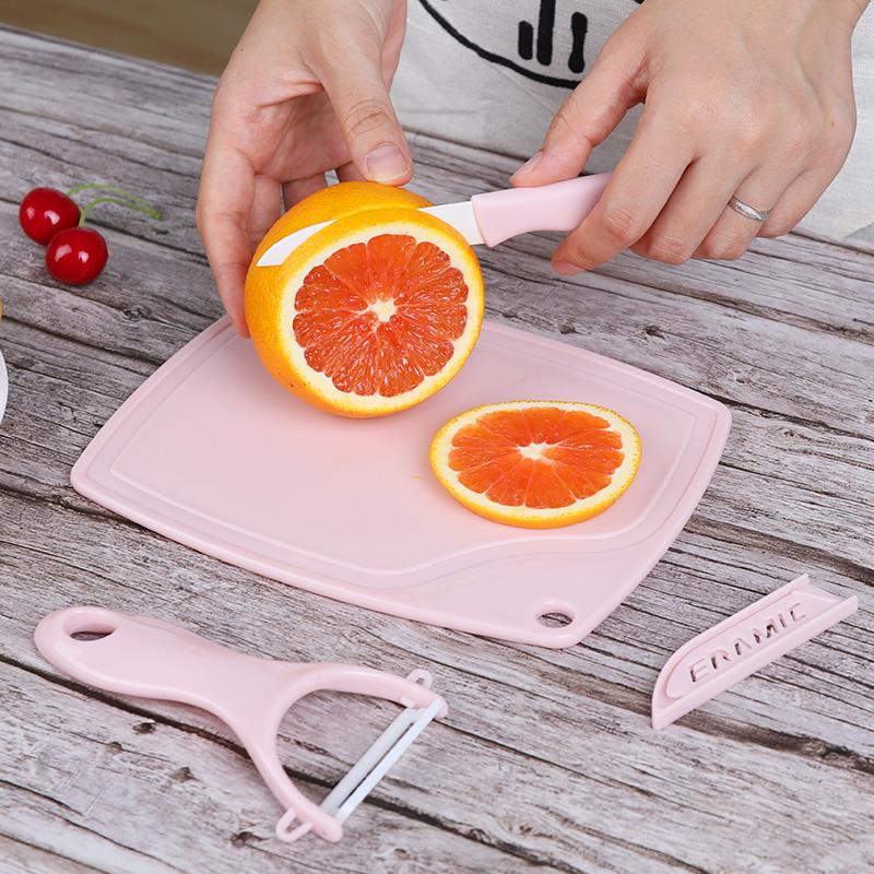 (用5元券)水果刀套装 家用刮刨小菜板切水果刀具 小巧搪瓷刀陶瓷刀三件套