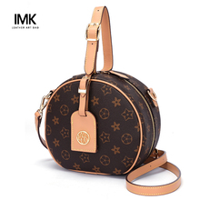 French LMK handbag lady 2019 new fashion leather small round bag fashion bags with one shoulder slanting round cake bags