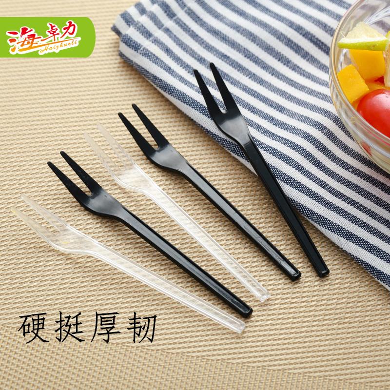 叉子一次性加厚塑料水果叉子小签插蛋糕甜品外卖小吃胶叉单独包装