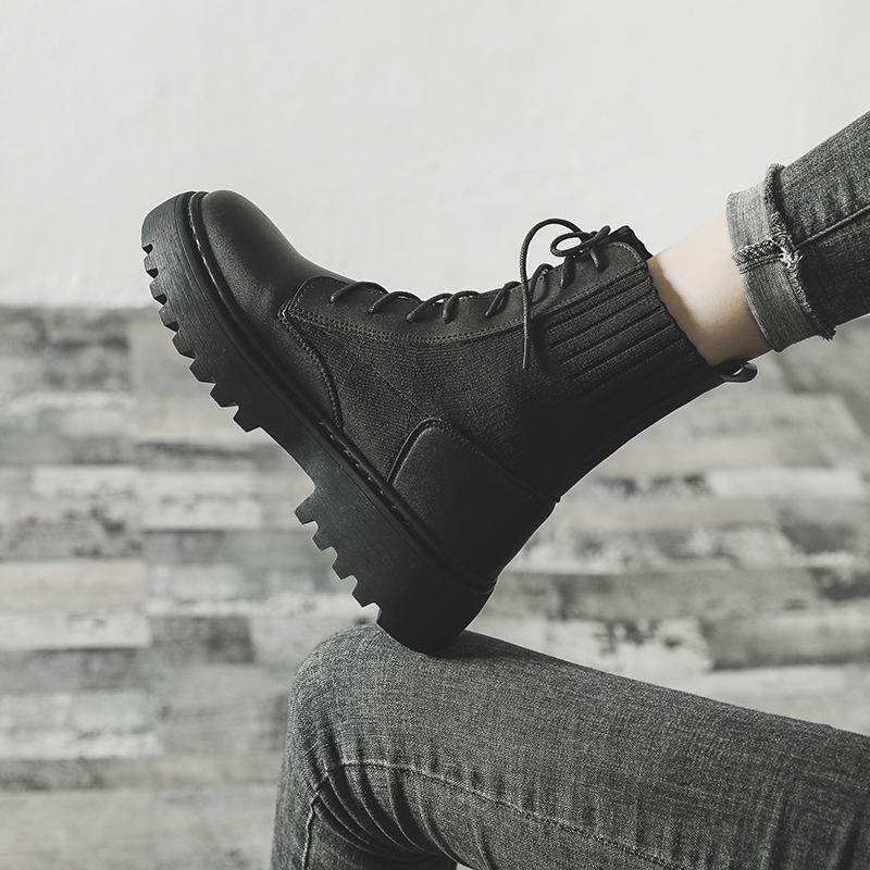 马丁靴女英伦风2019新款百搭秋季厚底鞋秋款机车秋冬季加绒短靴子