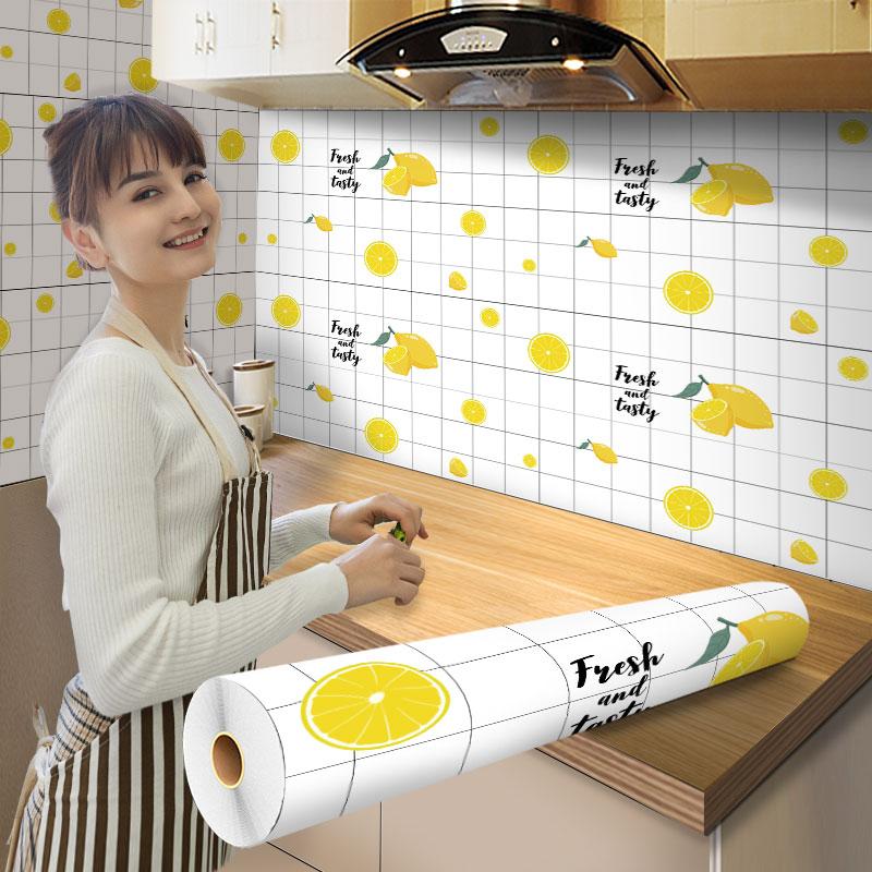 厨房防油贴纸防水自粘耐高温灶台墙贴墙壁墙面柜灶不沾油瓷砖墙纸