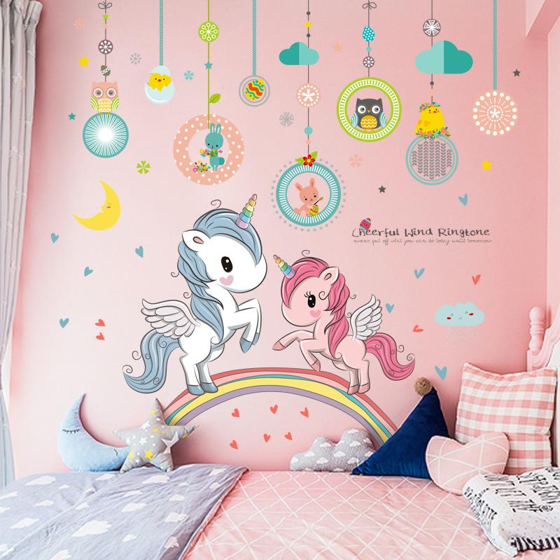 公主房卧室女孩床头可爱卡通贴纸墙贴画儿童房间布置装饰墙纸自粘