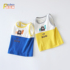 Little boy boy baby summer baby vest thin section infant contrast color breathable infant cotton vest western style