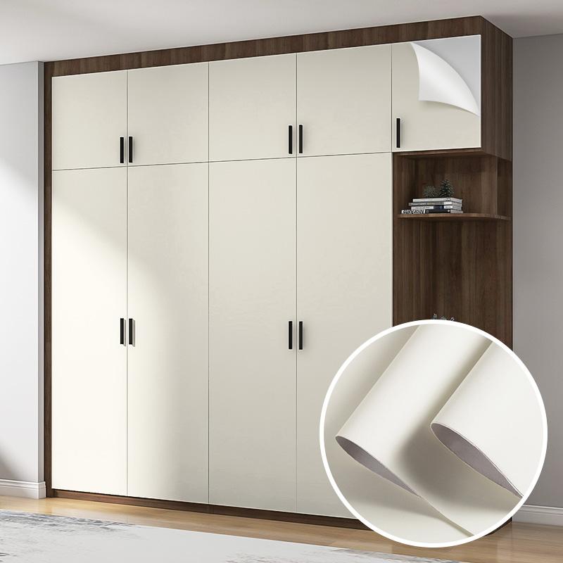 加厚肤感墙纸衣柜改色贴纸自粘旧柜子橱柜门移门改造家具翻新贴膜