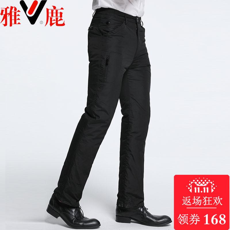 Элегантный олень брюки вниз мужской верхняя одежда талия утолщённый сохраняющий тепло на открытом воздухе съемный вкладыш обтягивающий стройнящий в пожилых зима