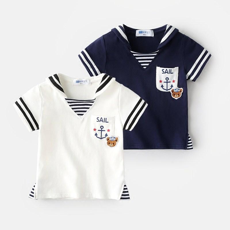 懿琪宝贝儿童纯棉短袖夏季海军风夏装男童半袖T恤1-3岁宝宝童装