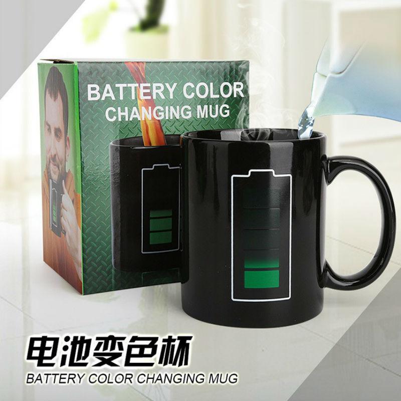 创意电池杯子电量感温变色杯 温度预热变色马克杯/变色陶瓷杯潮