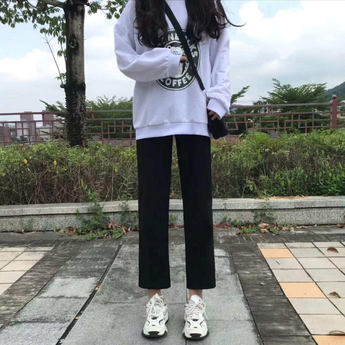 夏季新款黑色丝滑阔腿裤女学生韩版百搭薄款小个子高腰九分休闲裤