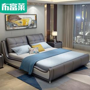 现代简约真皮床双人1.8米1.5米榻榻米储物软床欧式主卧婚床皮艺床