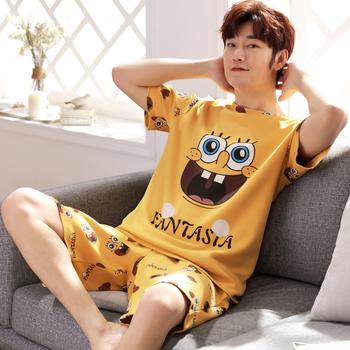 男士夏季纯棉短袖卡通青少年睡衣