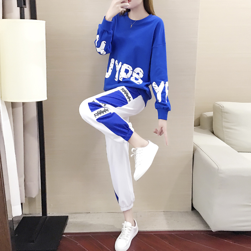套装女2019春秋季新款韩版网红学生时尚气质卫衣休闲运动两件套潮