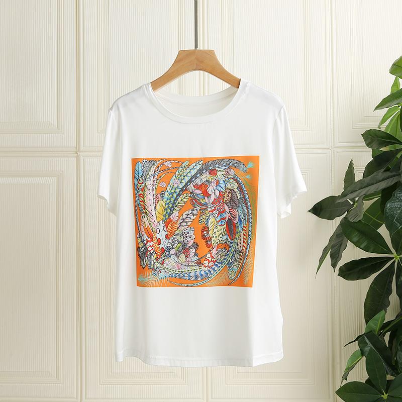 Heavy high-end silk white t-shirt female short sleeve design sense of minority mulberry silk summer half sleeve bottomed Shirt Top