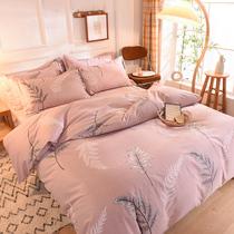 磨毛纯棉三四件套加厚网红款裸睡全棉床单床笠秋冬季被套床上用品