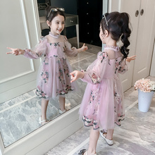 Girls Skirt 2019 New Little Girl Princess Skirt Westernized Spring Dress Korean Edition Trendy Children's Lace Screen Dress