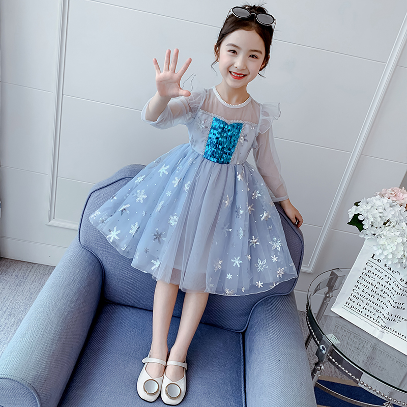 Girls' dress spring dress 2020 new foreign girls' summer dress Aisha yarn skirt spring and autumn children's skirt princess skirt
